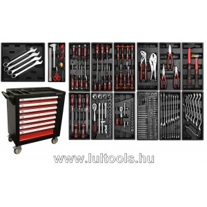 Felszerelt műhelykocsi 7 fiók + 1 oldalajtó 197 szerszámmal BGS-4074