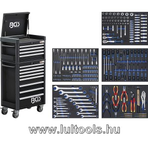 Felszerelt műhelykocsi 12 fiók 263 db szerszámmal BGS-4088
