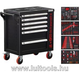 Felszerelt műhelykocsi 6 fiók + 1 oldalajtó 158 szerszámmal BGS-6055