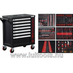 Felszerelt műhelykocsi 7 fiók + 1 oldalajtó 250 szerszámmal BGS-6058