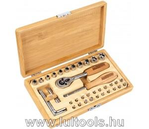 """Dugókulcs készlet bambusz kofferben 1/4"""" 41 részes"""