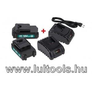 PowerPlus POWEB9090 2db 18V/1,5Ah akkumulátor + 2 db akkutöltő