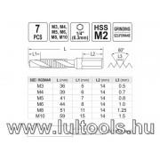 Kombinált gépi fúró-menetfúró bitbefogás készlet 7 részes M3 - M10 YATO