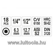 Bithegy-dugókulcs készlet 18 részes Imbusz  YATO