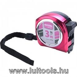 mérőszalag, gumírozott, 1 stoppos; rózsaszín, 3m×16mm, Extol Lady