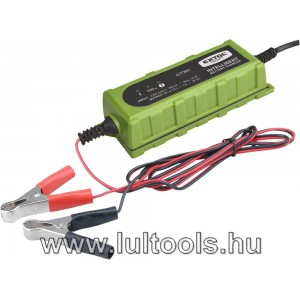 akkutöltő, autós, mikroprocesszoros, intelligens; 1 Amp, 4-100Ah, DC 12V/6V