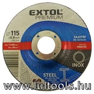 vágókorong hajlított, acélhoz/inoxhoz; 115×0,8×22,2mm