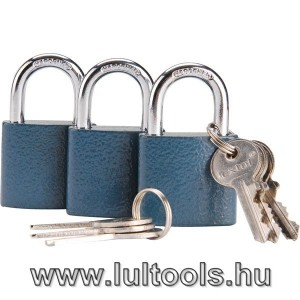 Biztonsági réz lakat klt., 38mm, 3 db lakat+6 db kulcs